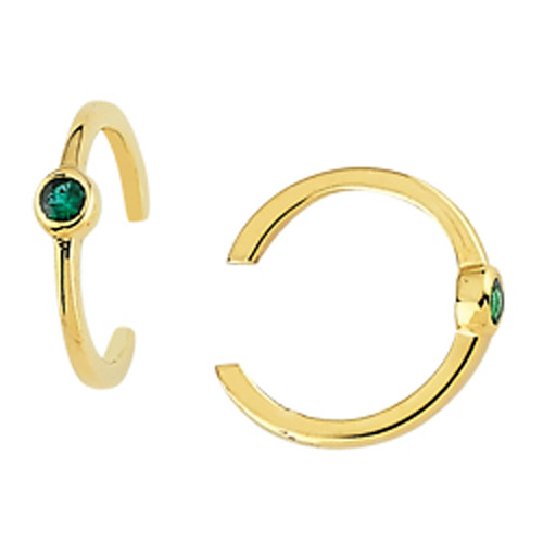 14k Yellow Gold .05 ct tw Emerald Earring Cuffs