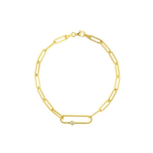 14k Yellow Gold 1/20 ct tw Diamond Paper Clip Link Bracelet