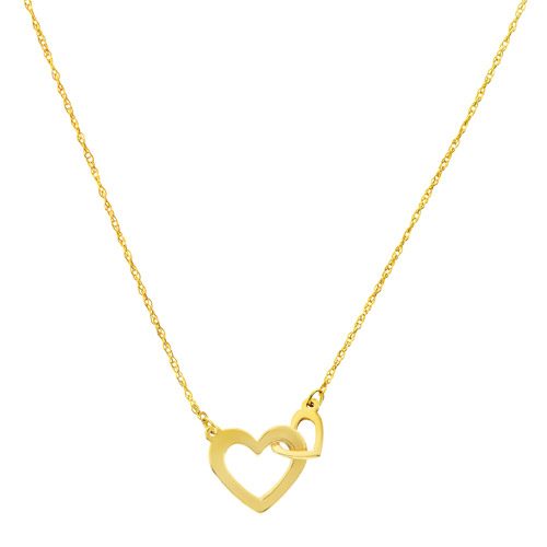 14k Yellow Gold Small Interlocking Hearts Necklace