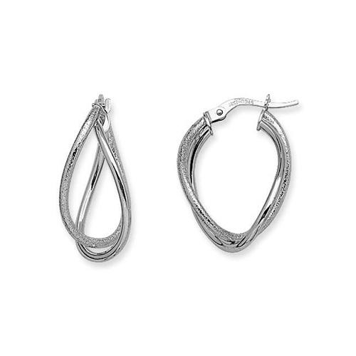 14kt White Gold 1in Euro Oval Hoop Earrings