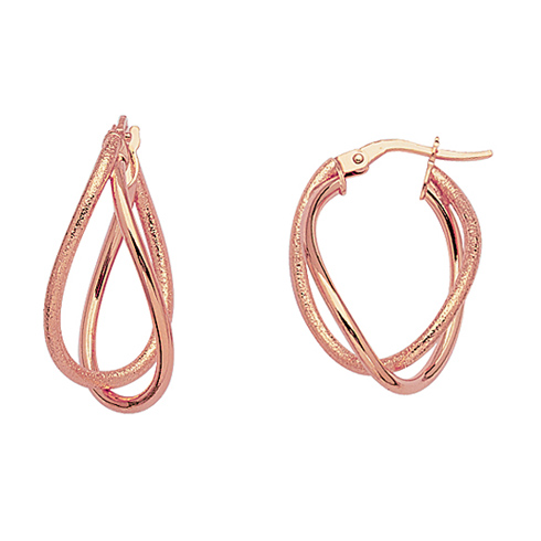 14kt Rose Gold 1in Euro Oval Hoop Earrings