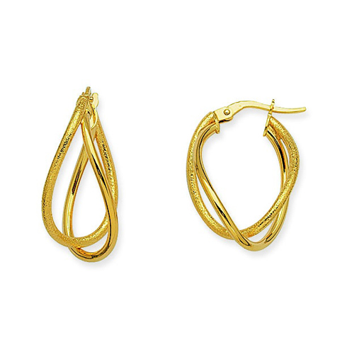 14kt Yellow Gold 1in Euro Oval Hoop Earrings