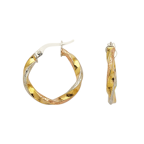14kt Tri-color Gold 3/4in Hoop Earrings