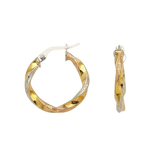 14kt Tri-color Gold 3/4in Hoop Earrings