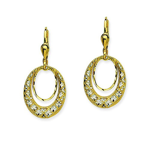 14kt Two-tone Gold Door Knocker Drop Earrings
