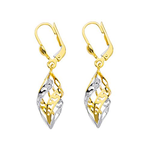 14kt Two-tone Gold Greek Key Twist Leverback Earrings