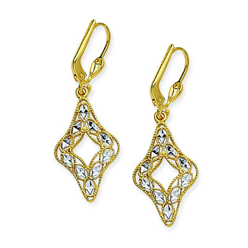 14kt Two-tone Gold Fancy Filigree Drop Earrings