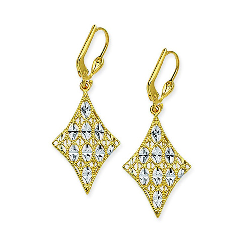 14kt Two-tone Gold Pointed Filigree Leverback Earrings