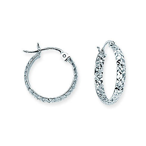14kt White Gold 5/8in Diamond-cut In and Out Hoop Earrings 3mm