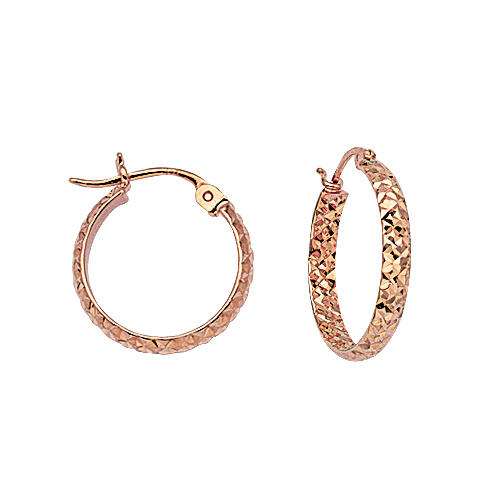 14kt Rose Gold 5/8in Diamond-cut In and Out Hoop Earrings 3mm