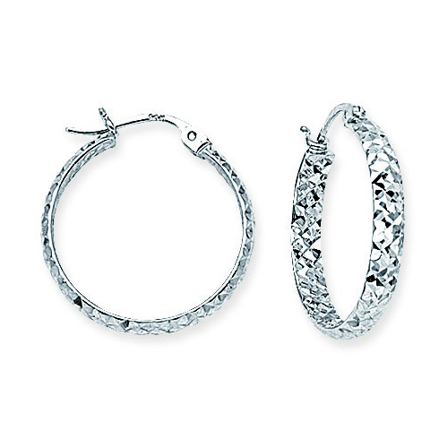 14kt White Gold 3/4in Diamond-cut In and Out Hoop Earrings 3mm