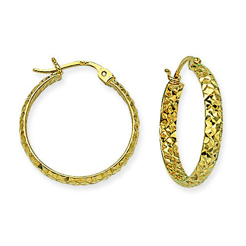10kt Yellow Gold 3/4in Diamond-cut In and Out Hoop Earrings 3mm