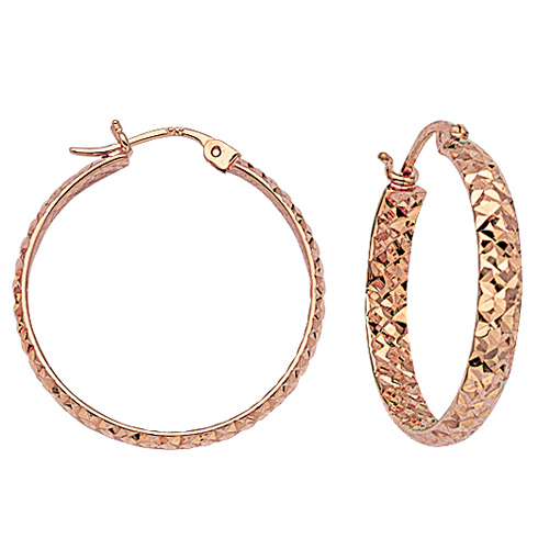 14kt Rose Gold 1in Diamond-cut In and Out Hoop Earrings 3mm