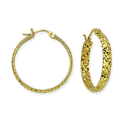 14kt Yellow Gold 1in Diamond-cut In and Out Hoop Earrings 3mm