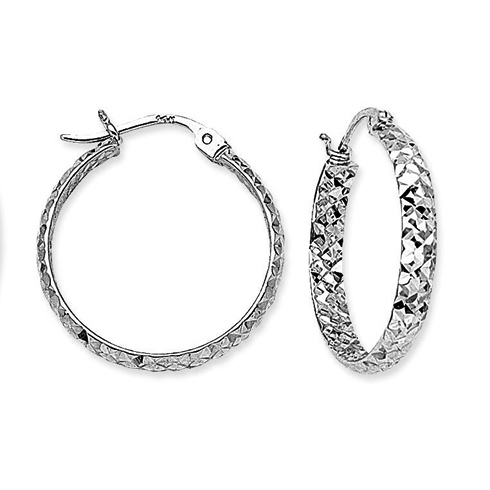 10kt White Gold 1 1/8in Diamond-cut In and Out Hoop Earrings 3mm