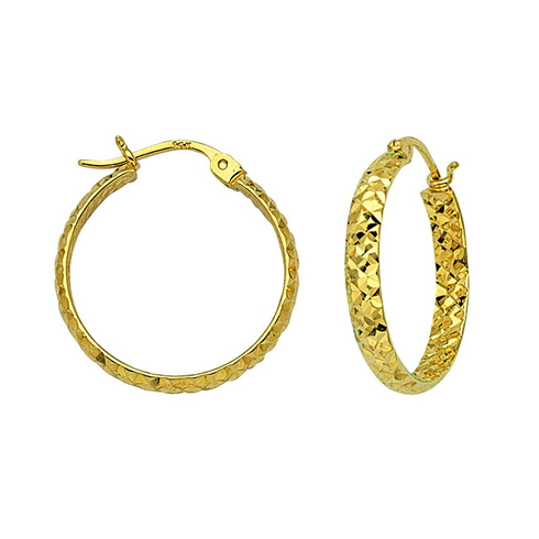 10kt Yellow Gold 1 1/8in Diamond-cut In and Out Hoop Earrings 3mm