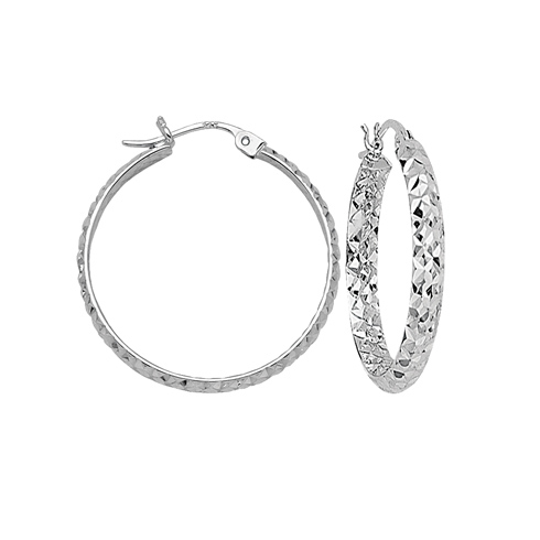 10kt White Gold 1 1/2in Diamond-cut In and Out Hoop Earrings 3mm