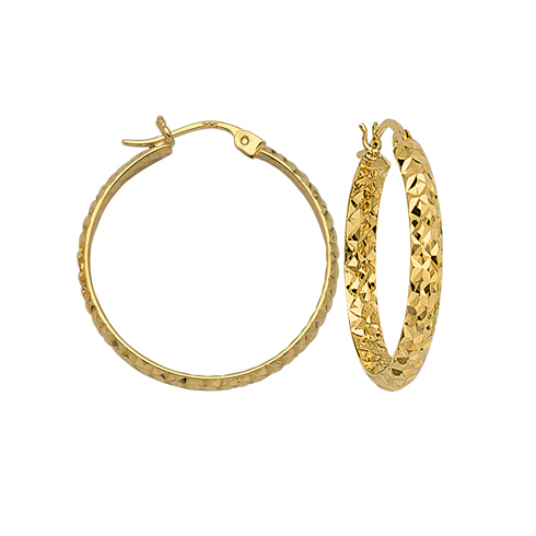 10kt Yellow Gold 1 1/2in Diamond-cut In and Out Hoop Earrings 3mm