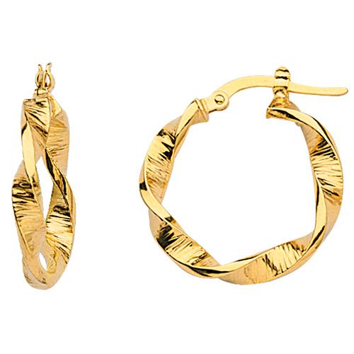 14kt Yellow Gold 1in Euro Hoop Earrings