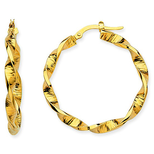 14kt Yellow Gold 1 1/4in Euro Hoop Earrings