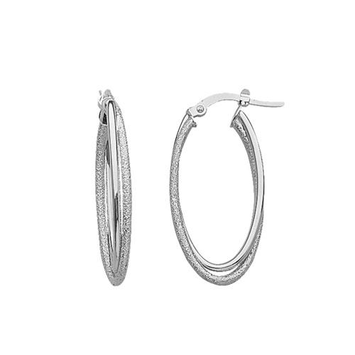 14kt White Gold 1 1/4in Double Oval Hoop Earrings