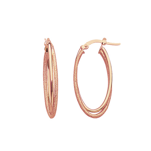 14kt Rose Gold 1 1/4in Double Oval Hoop Earrings