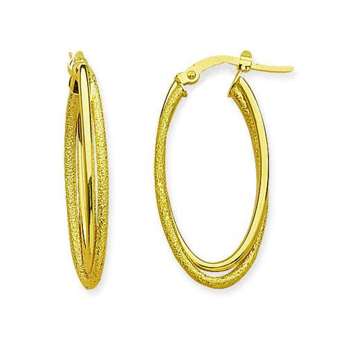 14kt Yellow Gold 1 1/4in Double Oval Hoop Earrings