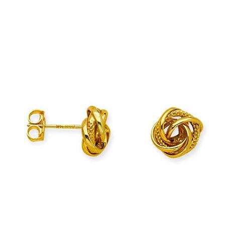 14kt Yellow Gold Diamond-cut Love Knot Earrings