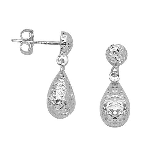 14kt White Gold 3/4in Textured Dangle Teardrop Earrings