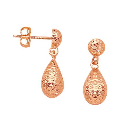 14kt Rose Gold 3/4in Textured Dangle Teardrop Earrings