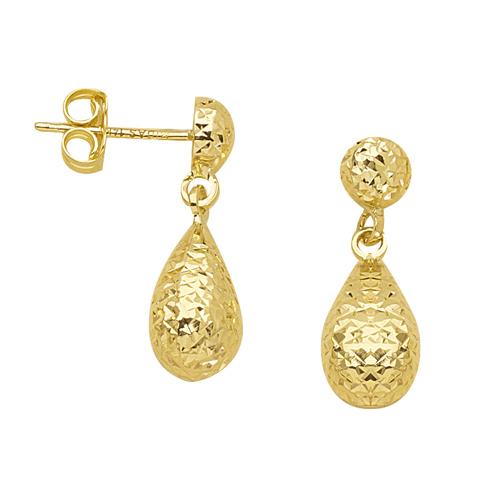 14kt Yellow Gold 3/4in Textured Dangle Teardrop Earrings