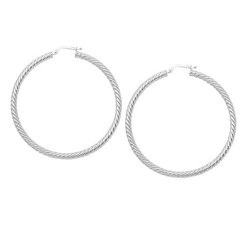 14kt White Gold 1in Rope Twist Hoop Earrings 3mm