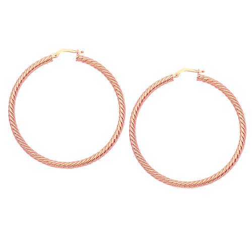 14kt Rose Gold 1in Rope Twist Hoop Earrings 3mm