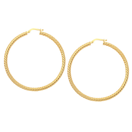 14kt Yellow Gold 1in Rope Twist Hoop Earrings 3mm