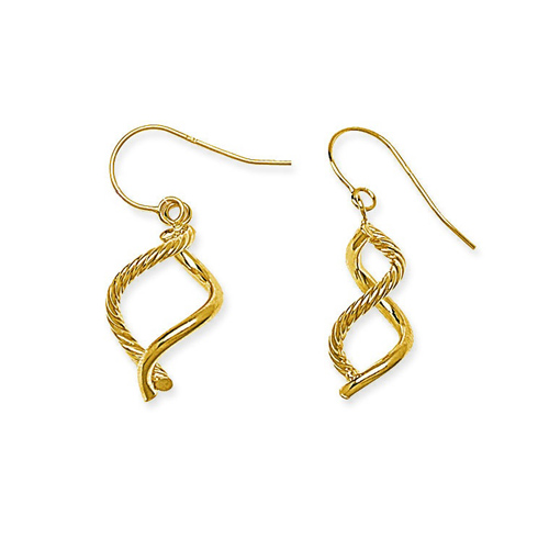 14kt Yellow Gold Twist Drop Earrings with Rope Texture