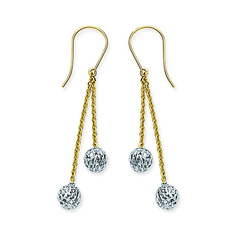14kt Two-tone Gold Chain Textured Ball Earrings