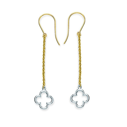 14kt Two-tone Gold Clover Outline Drop Earrings