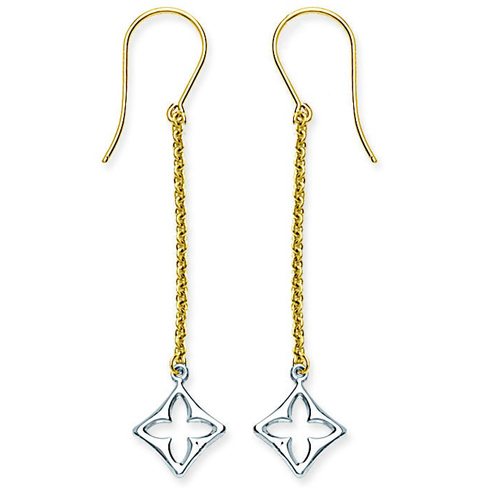 14kt Two-tone Gold Chain Clover Drop Earrings