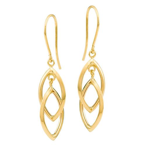 14kt Yellow Gold Double Teardrop Drop Earrings
