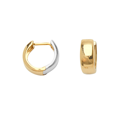 14kt Two-tone Gold 3/8in Huggie Earrings 4mm