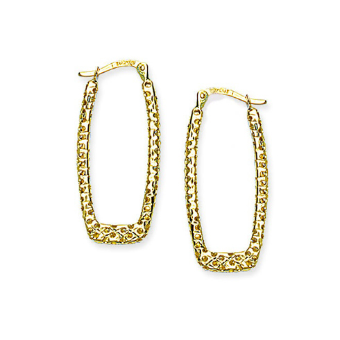 14kt Yellow Gold Lasered Square Hoop Earrings