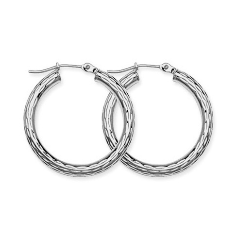 10kt White Gold 1 1/8in Diamond-cut Hoop Earrings 3mm