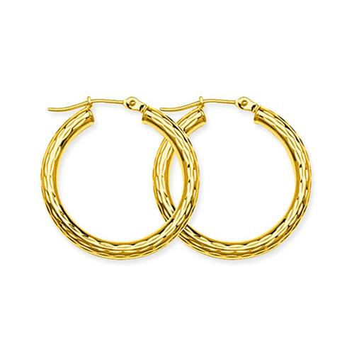 10kt Yellow Gold 1 1/8in Diamond-cut Hoop Earrings 3mm