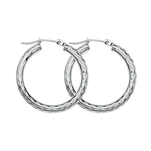 10kt White Gold 3/4in Diamond-cut Hoop Earrings 3mm