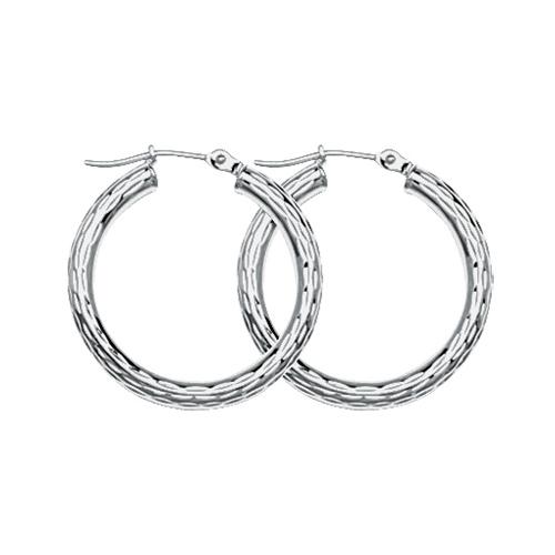 10kt White Gold 3/4in Diamond-cut Hoop Earrings 3mm