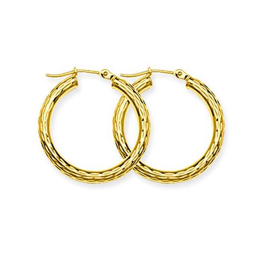 10kt Yellow Gold 3/4in Diamond-cut Hoop Earrings 3mm