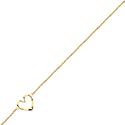 14kt Yellow Gold 9 to 10in Open Heart Anklet