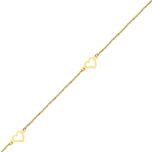14kt Yellow Gold 9 to 10in Heart Trio Station Anklet