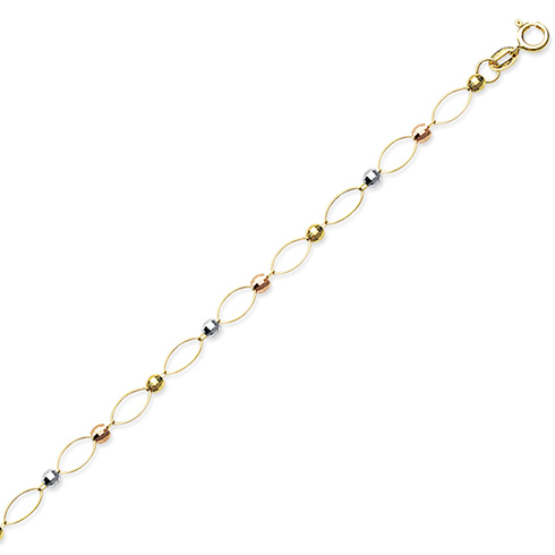 14kt Tri-color Gold 10in Beaded Oval Link Anklet