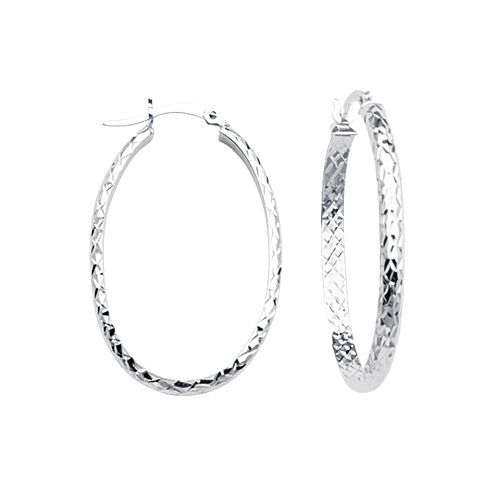 10kt White Gold 1 1/4in Diamond-cut In and Out Oval Hoop Earrings 3mm
